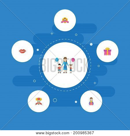 Happy Mother's Day Flat Icon Layout Design With Gift To Mom, Best Mother Ever And Present Symbols
