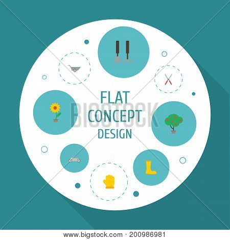 Flat Icons Wheelbarrow, Green Wood, Latex And Other Vector Elements