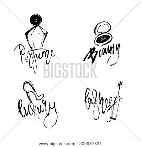 Vector Makeup beauty set of cosmetic logos with perfume and mascara, shoes. Creative design for identity, background, t-shirt.