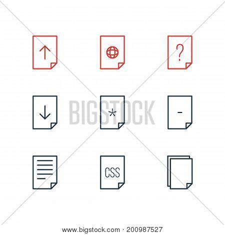 Editable Pack Of Munus, Upload, Basic And Other Elements.  Vector Illustration Of 9 Paper Icons.