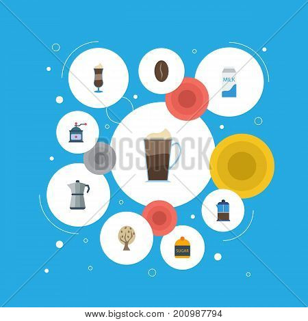 Flat Icons Sweetener, Timber, Coffee Mill And Other Vector Elements