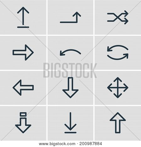 Editable Pack Of Undo, Right, Randomize Elements.  Vector Illustration Of 12 Direction Icons.