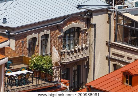 Old Sulfur Baths In Abanotubani District With Wooden Carved Balconies In The Old Town Of Tbilisi, Ge
