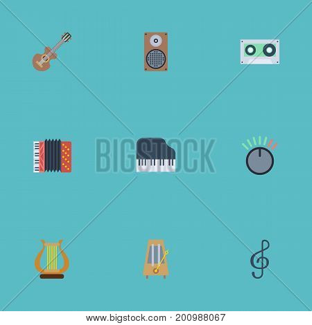 Flat Icons Rhythm Motion, Tape, Lyre And Other Vector Elements