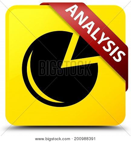 Analysis (graph Icon) Yellow Square Button Red Ribbon In Corner