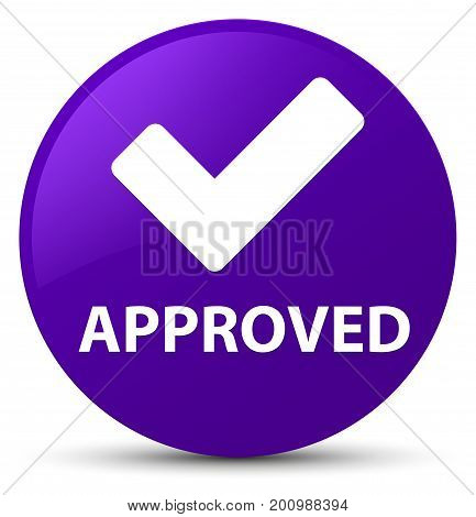Approved (validate Icon) Purple Round Button
