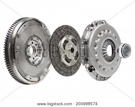 The Composition Of The Elements Of Car Repair Kit Clutch Manual Gearbox Isolated, On A White