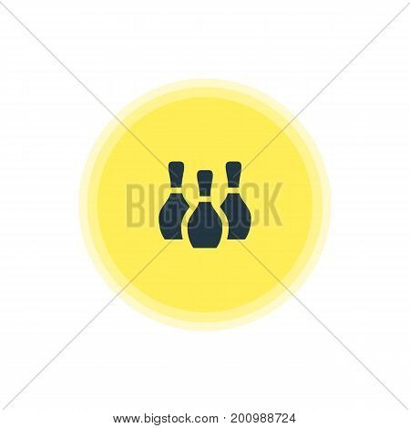 Beautiful Travel Element Also Can Be Used As Skittles Element.  Vector Illustration Of Bowling Pins Icon.