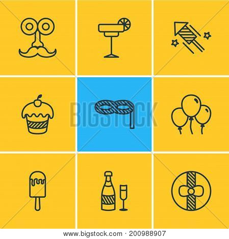 Editable Pack Of Gift, Sundae, Man Style And Other Elements.  Vector Illustration Of 9 Banquet Icons.