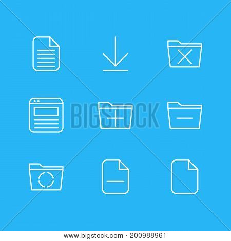 Editable Pack Of Blank, Minus, Deleting Folder And Other Elements.  Vector Illustration Of 9 Workplace Icons.
