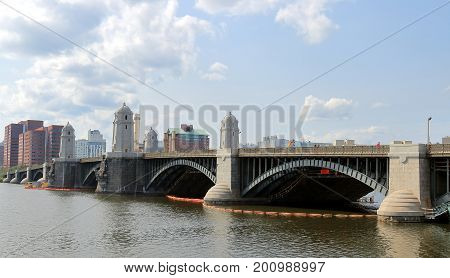 View of Longfellow Bridge and Charles River in Boston, Massachusetts