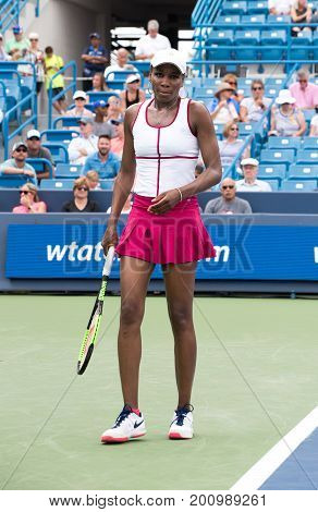 Mason Ohio - August 16 2017: Venus Williams in a second round match at the Western and Southern Open tennis tournament in Mason Ohio on August 16 2017.
