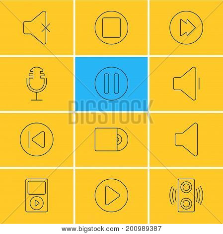 Editable Pack Of Mp3, Start, Amplifier And Other Elements.  Vector Illustration Of 12 Melody Icons.