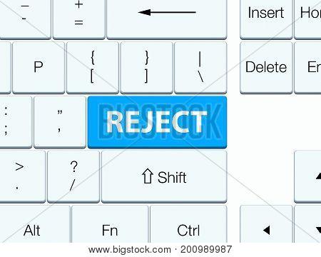 Reject Cyan Blue Keyboard Button