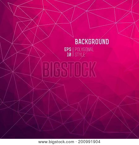 Abstract high quality triangle backgrounds in polygon style with white thin lines vector illustration