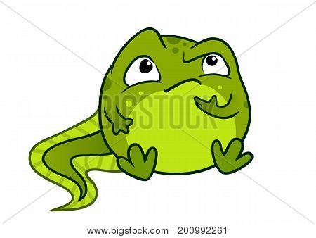 Vector cartoon illustration of cute green baby tadpole frog character sitting and looking thoughtful with hand on chin isolated on white background.