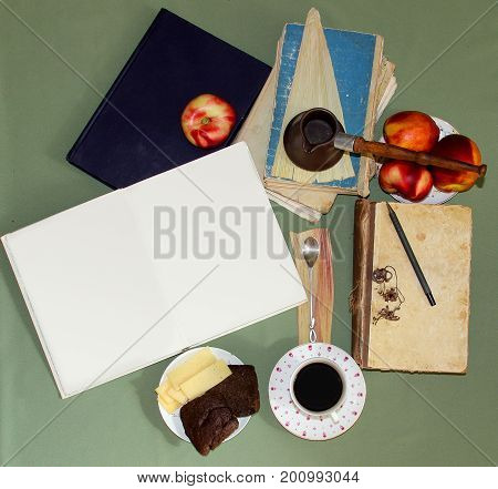 Still Life Coffee Steam, A Teaspoon With A Curled Tip Lies On A Substrate Of Dried Sheet Of Iris, An