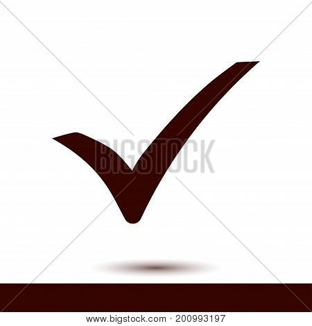 Check mark icon. Flat design style. Vector.
