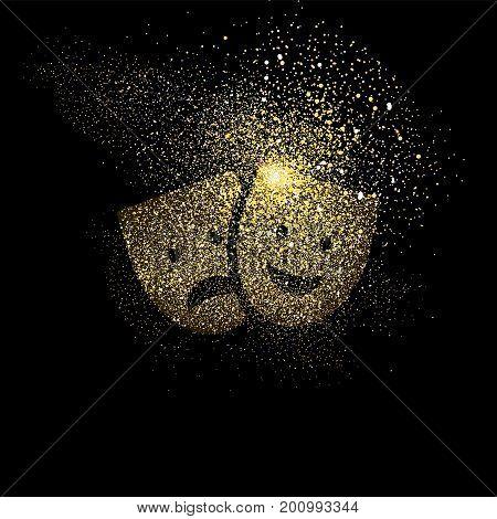 Theatre Mask Gold Glitter Art Symbol Illustration
