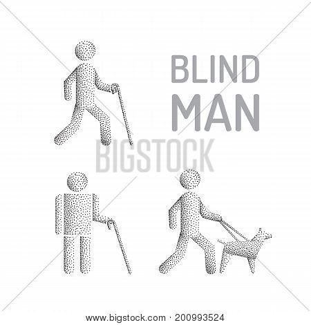 Set man stick figure blind man. Disability blind person whith white cane and guide dog. Vector icon isolated on white background
