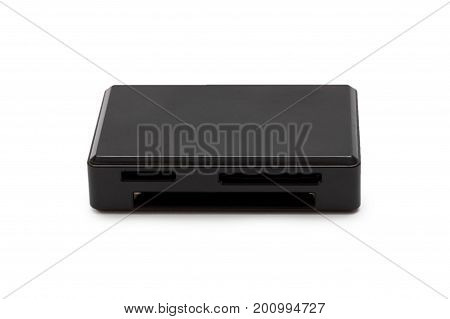 USB multi memory card reader isolated on white background.