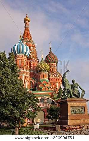 Moscow Russia - 14 July 2017: Cathedral of Vasily the Blessed and monument to Minin and Pozharsky in the Red Square