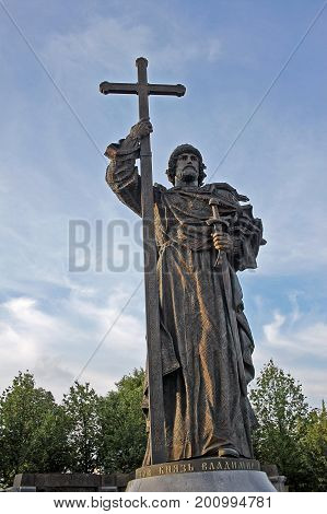 Moscow Russia - 14 July 2017: Monument to Volodymyr The Great prince of Novgorod grand prince of Kiev and ruler of Kievan Rus' from 980 to 1015. Vladimir converted to Christianity in 988 and Christianized the Kievan Rus'