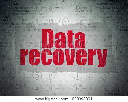 Data concept: Painted red text Data Recovery on Digital Data Paper background with  Scheme Of Hexadecimal Code