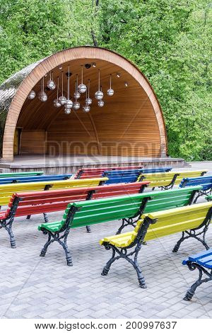 Multicolored Benches In Park
