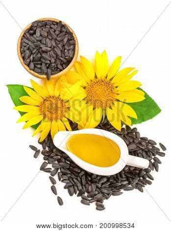 Sunflower oil, seeds and flower isolated on white background, Top view.