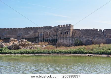 Ancient wall of Akkerman fortress in Belgorod-Dnestrovsky. Ukraine