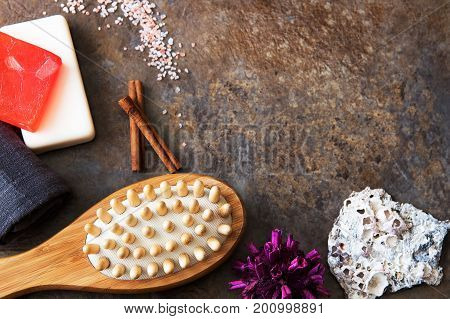 Spa and Wellness - Bath brush Towel Sea salt and Homemade soap. Ingredients for Cellulite Massage. With copy space