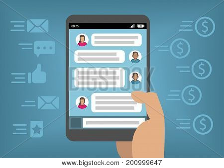 Online marketing via social media and instant messenger as concept for monetization with smart phone