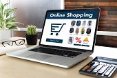 Business people use Technology Ecommerce Internet Global Marketing Purchasing Plan and Bank Concept poster
