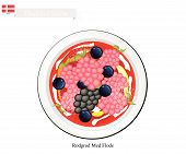 Danish Cuisine, Rodgrod Med Flode, Rote Grutze, Rode Grutt, Red Groats or Traditional Berry Pudding with Cream. One of The Most Famous Dessert in Denmark. poster