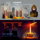 Steel industry banner iron and steel factory workshop. Steel worker. Metallurgy process. Hot steel pouring in steel plant. Smelting of metal in big foundry poster