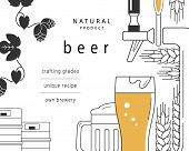 Beer mug, glass, beer tap, kegs, malt and hops. A brochure design template for a brewery, pub, restaurant, bar. Flyer, advertising booklet. Vector linear illustration is cropped with a mask. poster