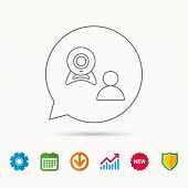 Video chat icon. Webcam chatting sign. Web conference symbol. Calendar, Graph chart and Cogwheel signs. Download and Shield web icons. Vector poster