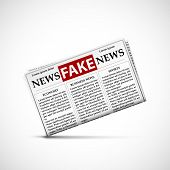 Fake news in daily newspapers. Icon of the periodical press with lies and propaganda. Stock vector illustration. poster