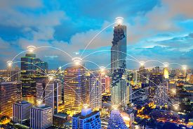 Wifi icon and city scape and network connection concept Smart city and wireless communication network abstract image visual internet of things