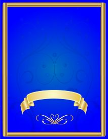 Frame with a Blue Background and a Gold Ribbon