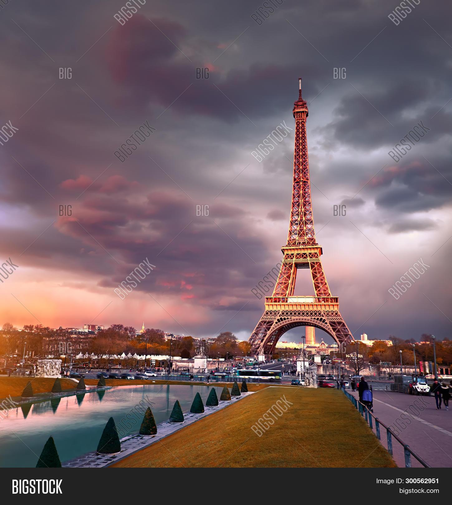 Eiffel Tower On Sunset Image Photo Free Trial Bigstock