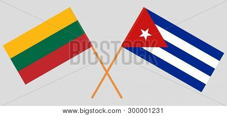 Cuba And Lithuania. The Cuban And Lithuanian Flags. Official Colors. Correct Proportion. Vector Illu