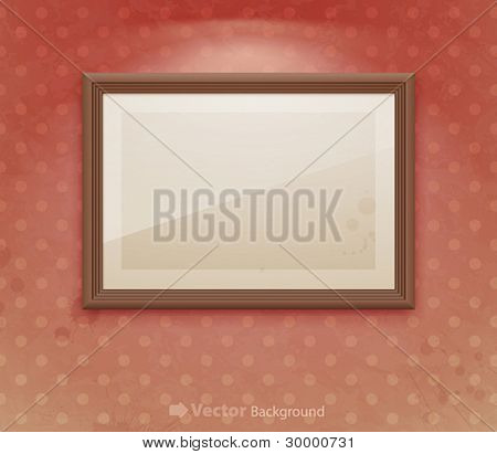Empty frame on the wall. Vintage vector background.