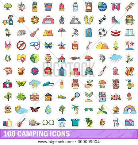 100 Camping Icons Set. Cartoon Illustration Of 100 Camping Icons Isolated On White Background