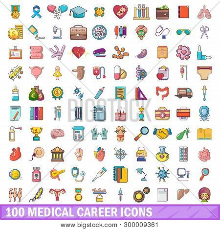 100 Medical Career Icons Set. Cartoon Illustration Of 100 Medical Career Icons Isolated On White Bac