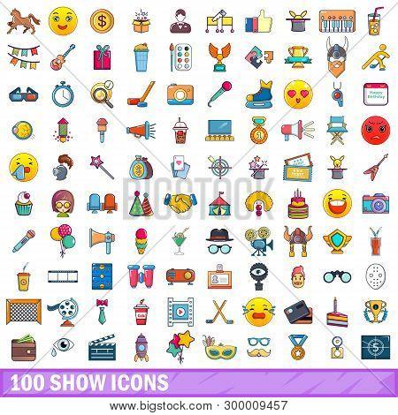 100 Show Icons Set. Cartoon Illustration Of 100 Show Icons Isolated On White Background