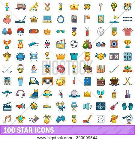 100 Star Icons Set. Cartoon Illustration Of 100 Star Icons Isolated On White Background