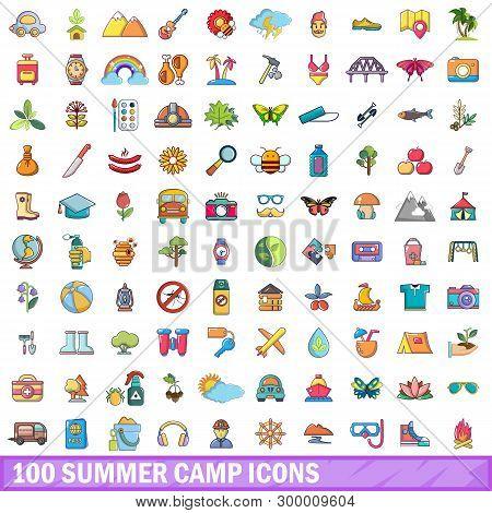 100 Summer Camp Icons Set. Cartoon Illustration Of 100 Summer Camp Icons Isolated On White Backgroun
