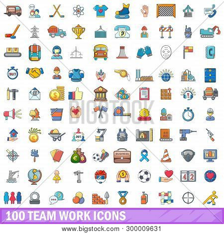 100 Team Work Icons Set. Cartoon Illustration Of 100 Team Work Icons Isolated On White Background